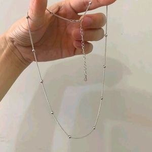 ⚡New Sterling Silver Bead & Chain Necklace